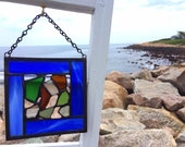 sea glass panel stained glass