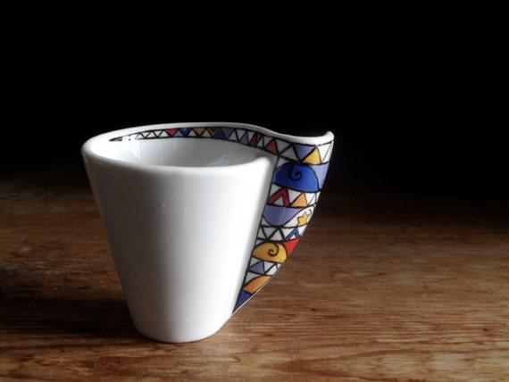 Set di 2 tazzine da caff dipinte a mano con piattino for Tazzine caffe moderne