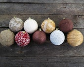 "Choose 4 Wrapped 3 "" Christmas Ornaments - Burlap - Lace - Snowflake - Red - Cream - Vintage - Rustic - Glitter  Fabric Wrapped  Brown Twine"