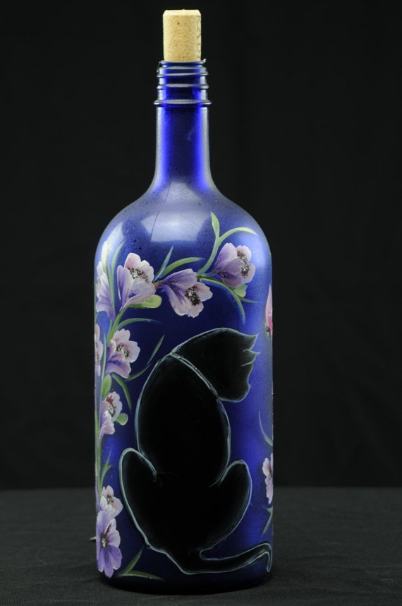 1 5 ltr hand painted lighted wine bottle black cat with for Painting flowers on wine bottles