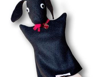 Hand Puppet for children Cute Felt Dog Puppet pet - handmade puppet for theatre - BLACK