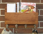 Rustic Hanging Mail and Key Holder - Magazine Rack