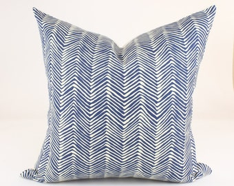 """Quadrille Alan Campbell PETITE ZIG ZAG Designer Pillow Cover in Navy on Tint, Accent Pillow, Decorative Throw Pillow, 18"""", 20"""", 22"""", 24"""" sq."""