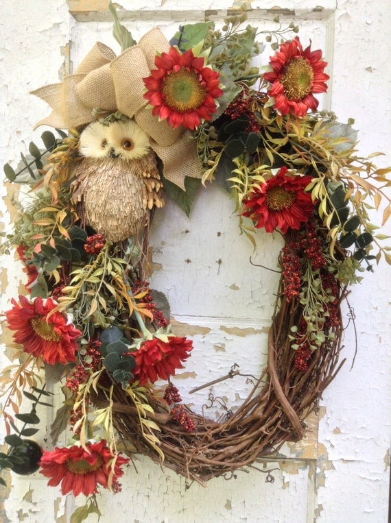 Large Fall Wreath Owl Wreath Autumn Oval Wreath For Door