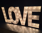 "Vintage Love Rustic White Finish Marquee Sign 32""wide x 12"" tall"