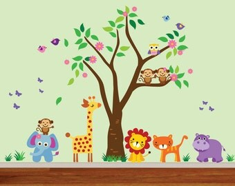 Jungle Wall Decal, Safari Wall Decal, Forest Woodlands Decal, Reusable  Nursery Wall Decal