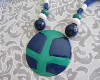 Necklace, Jewelry, Woman, Womens Necklace, Vintage Necklace, Larger, Medellin, Unique, Blue, Green, Women, Teens