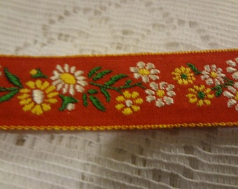 "2 Yards Vintage Embroidered Red Trim Yellow and White Flowers 3/4"" B14"