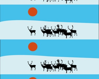 Graphic reindeer wrapping paper large sheets