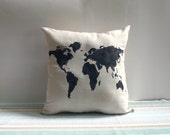 World Map Pillow Cover 20 x 20 inch