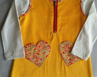 Handmade Bright and colourful winter dress, including undershirt size 3-4.