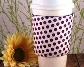 CLEARANCE / Fabric Coffee Cozy / Purple Polka Dots Coffee Cozy / Polka Dot Coffee Cozy / Coffee Cozy / Tea Cozy