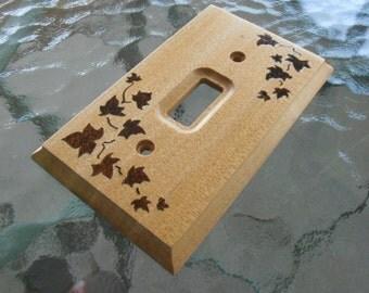 Wood Light Switch Plate, Wood Switchplate, Wood Light Switch Cover, Wood Burned Light Switchplate, Wood Burned Light Switch Cover