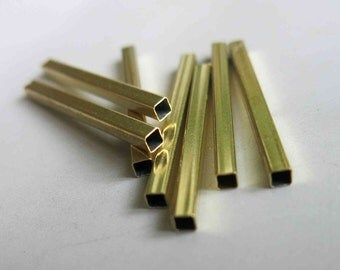 100pcs Raw Brass Tube Beads Straight Shape In Square Rod 36mm x 3mm - F166