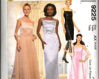 90s Evening Elegance Gown Scarf McCalls 9225 Bust 29 30 half Bridesmaid Dress Prom Sewing Pattern