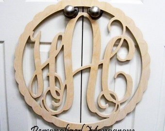 "28"" Inch Wooden Monogram with BORDER, Vine Connected 3 monogram, Wedding Decor, D"