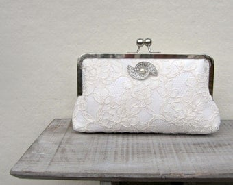 Lace bridal clutch bag, ivory wedding clutch, art deco lace clutch, Great Gatsby clutch, bridesmaids clutch, clutch purse, custom, uk clutch