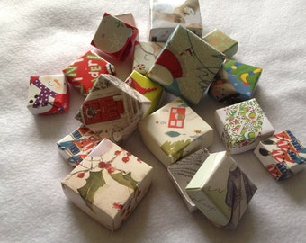 Mini gift boxes (set of 10) made from repurposed greeting cards