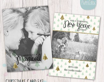 Christmas Card Template - Photoshop template - AC016 - INSTANT DOWNLOAD