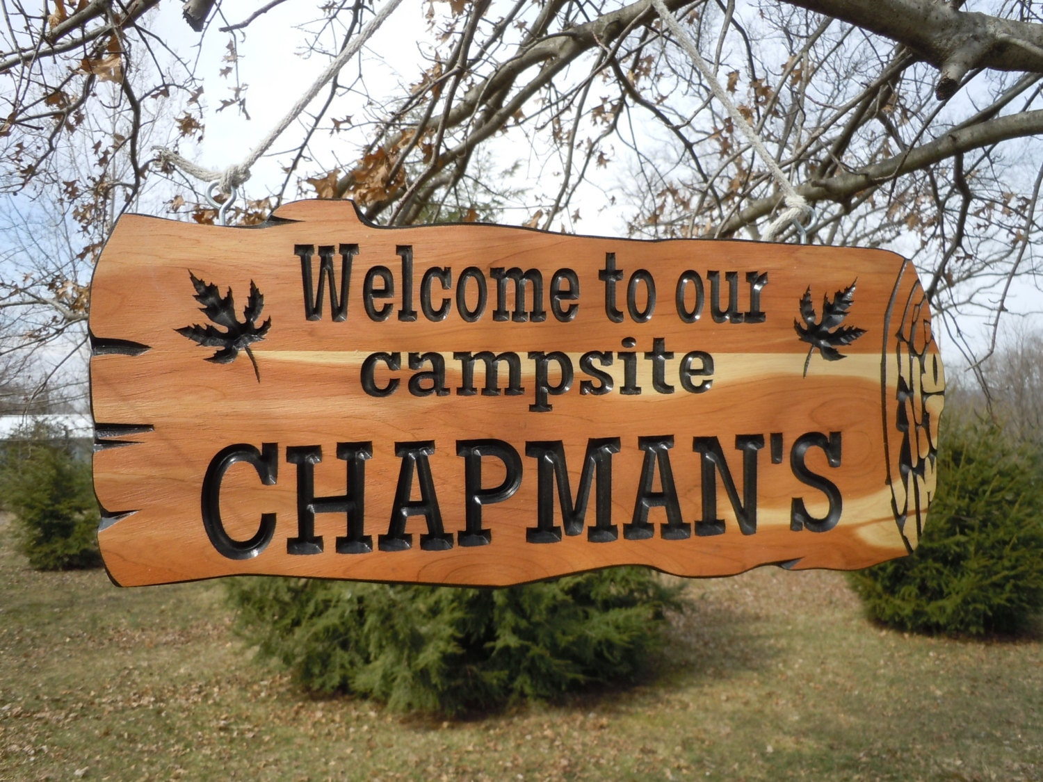 Live Edge Wood Look Last Name Campsite Sign Personalized