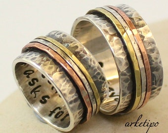 Personalized / Custom Wedding Bands - Handmade oxidized sterling silver Rings - Couples Rings - Hand Stamped