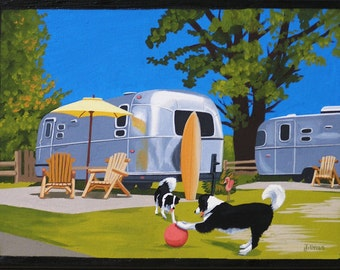 Mid Century Modern Eames Retro Limited Edition Print from Original Painting Airstream Border Collies