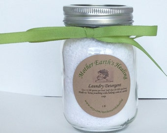 All Natural Powdered Laundry Detergent For Sensitive Skin & Cloth Diapers,Hypoallergenic Laundry Care,Vegan Laundry Detergent, 16 oz Jar