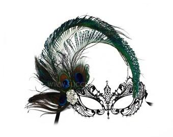 Corrine Peacock Feather Black Laser Cut Women's Masquerade Mask - A-2215B-R