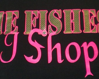 "Black/Pink - ""He Fishes I Shop"" Women's Shirt w/Embellishment"