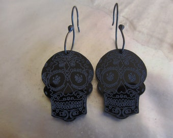Skull  Earrings Black Perspex