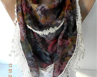 SALE ! 9,90 USD-Fashion Scarf--Triangular Scarf with Trim Edge-Gift Scarf
