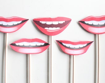 5pc * Lips Photo Booth Props/Photobooth Props