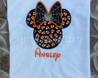 Candy Corn Minnie Mouse Spider Shirt- Minnie Mouse Halloween Shirt- Girls Halloween Shirt- Applique- Custom- Disney