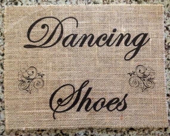 Primitive Burlap Panel Appliqué Dancing Shoes Sign Rustic Wedding Shabby Chic