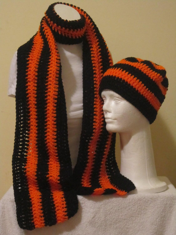 scarf and beanie hat black and orange stripe by vansbasicwear