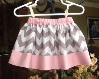 Chevron Skirt, Grey and Pink (baby, toddler, girls, infant, child)