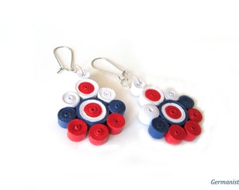 White, Red and Blue Paper Earrings, Statement Quilled Earrings, Paper Quilling Jewelry, DIY paper jewelry, Eco Friendly Jewelry