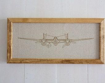 P-38 Lightning, Lockeeds most famous WWll war bird,  Precision Lasered Line Drawing, Home Decor, Boy's Room, Office