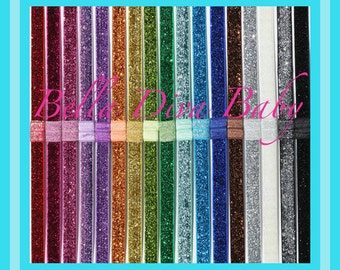 "Glitter Headbands - 3/8"" sparkle Glitter Elastic Headband - Interchangeable Headband - Choose Colors to make Headbands for photo prop"
