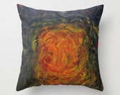 Painting Print Throw Pillow, Orange and Blue, Abstract, Original Painting, Art Photography, Throw Cushion, Home Decor, Fine Art, Acrylic