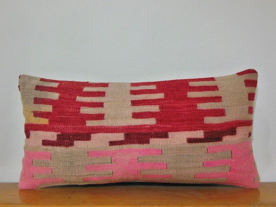 Red Sofa Pillow Pink Couch Pillow beige Cream sham pillow bohemian tribal rug pillow  vintage antique