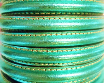 """8"""" Half Round with hole Metallic Green Leather Cord Finding, Jewelry Supplies, bracelet, necklace, finding, memory wire"""