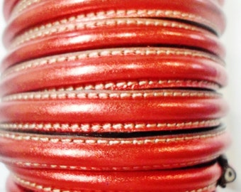 "8"" Half Round with hole Metallic Red Leather Cord Finding, Jewelry Supplies"