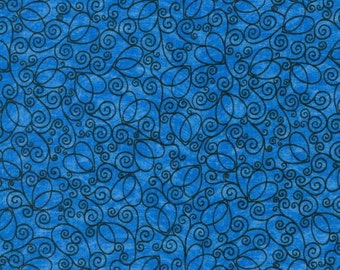 Beautiful blue fabric with black swirls.