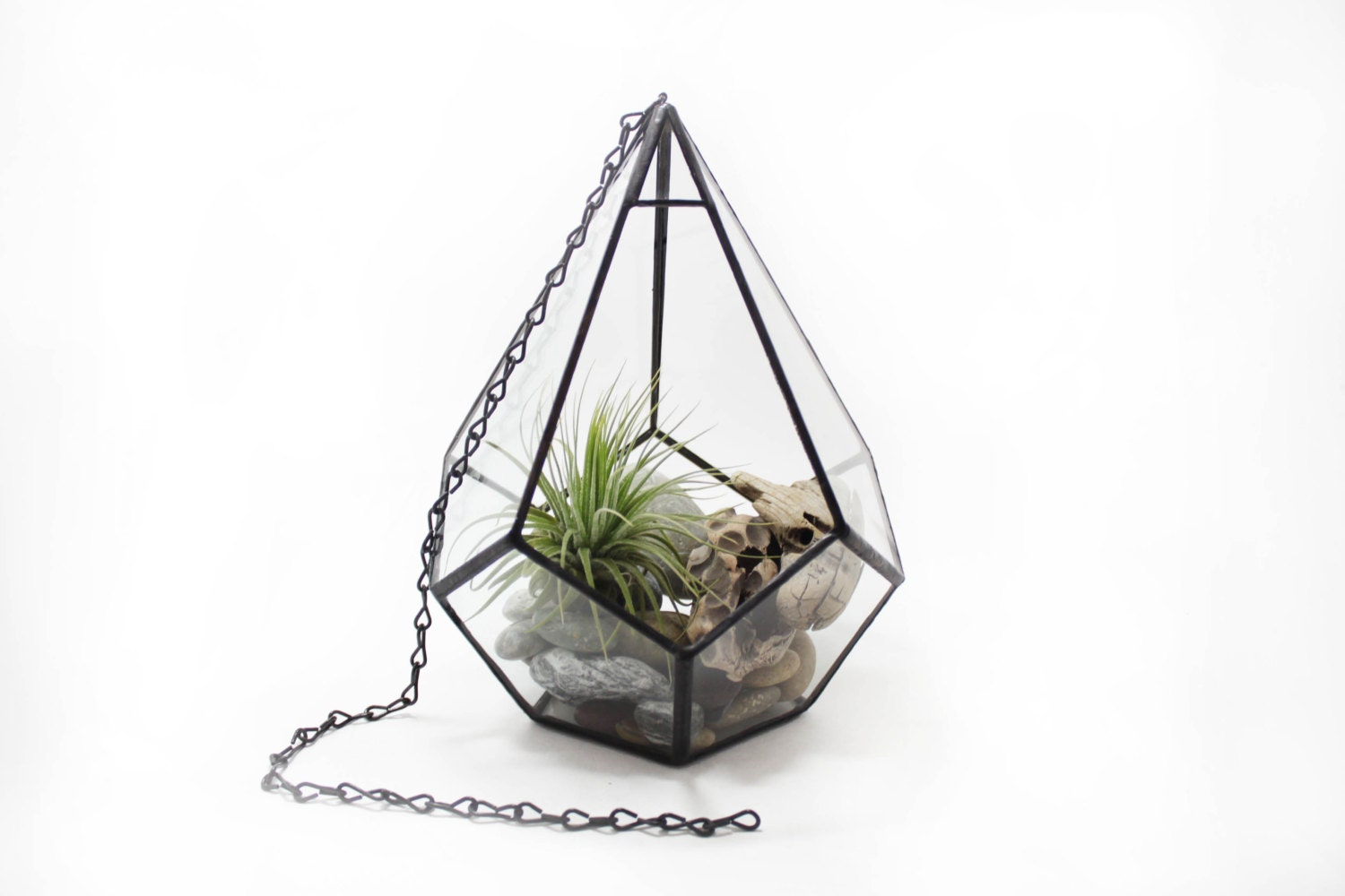 🔎zoom - Hanging Terrarium Large Teardrop / Geometric Stained Glass