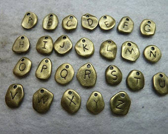 9x10MM Antique Bronze 26 Letters Charms Pendants Jewelry Findings Wholesale