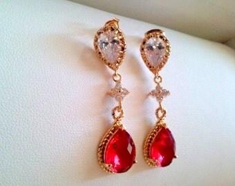 garnet earrings,red crystal earrings,weddings earrings,bridesmaid earrings,gold tear drop earrings,gold drop earrings,red stone earrings