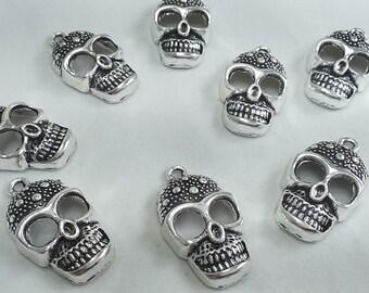 20 pcs Metal Skull Charms- Sugar Skull  Charms-Gothic skull Charms - 28 mmx  18mm