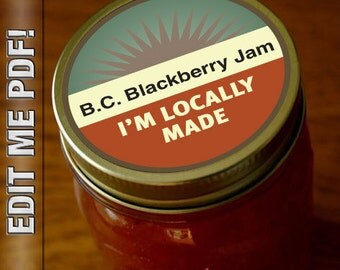 "I'm Locally Made! Self edit mason jar Labels 2"" round great for Farmer's Market canned goods"