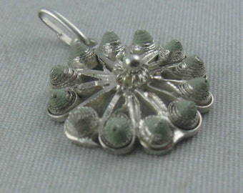 Filigree mini pendant from genuine silver with lacquer or enamel in LIME GREEN. Vintage